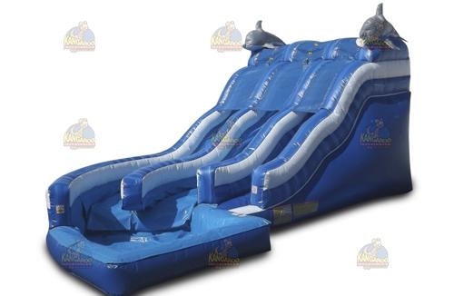 Dual Curve Dolphin Waterslide - Kangaroo Inflatables